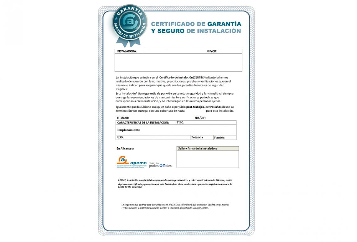 Certificado de garantía y seguro de instalación