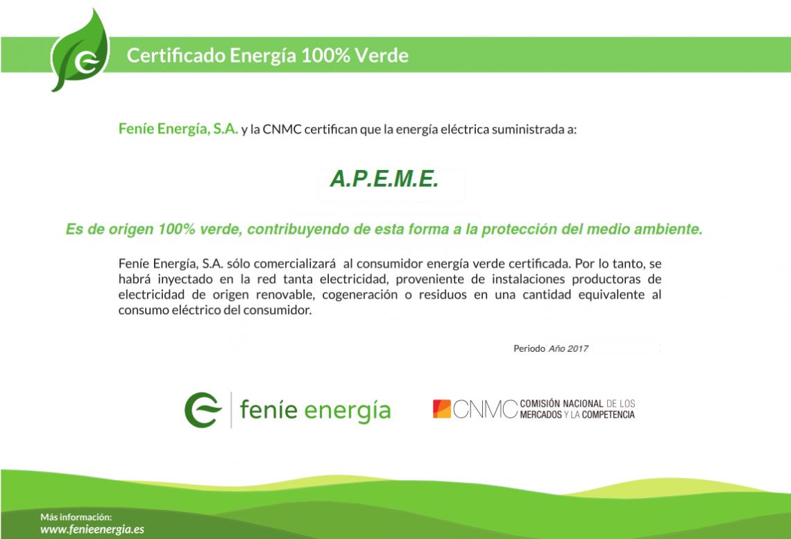 Certificado Energía Verde