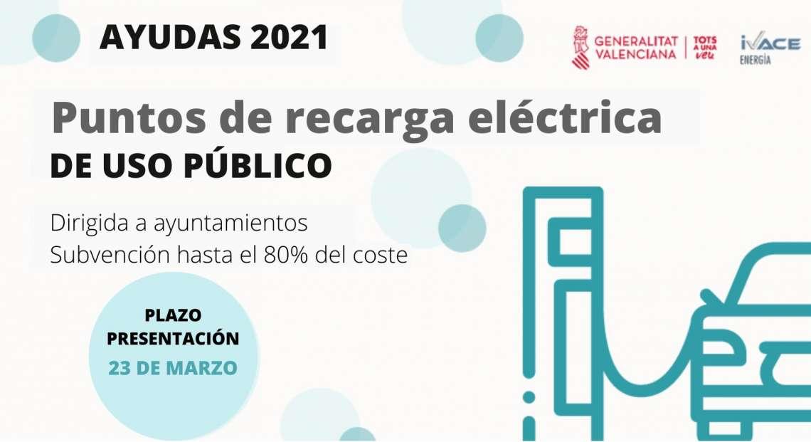 El IVACE impulsa la movilidad eléctrica con ayudas a los Ayuntamientos de hasta el 80% a las estaciones de recarga