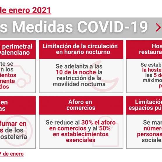 Nuevas Medidas COVID19 a partir del 7 de enero en la Comunidad Valenciana