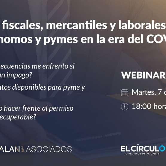 Webinar: Consultas fiscales, mercantiles y laborales para autónomos y PYMES COVID-19